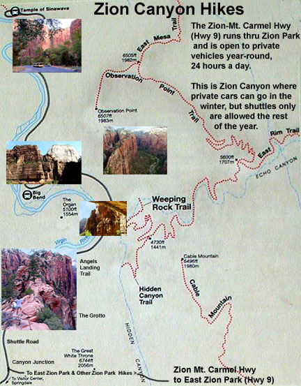 Zion National Park Lodging Zion National Park - Map of zion national park